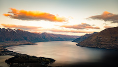 Sunset ath the lake 2 (amcatena) Tags: sky sunset travel clouds new zealand snow