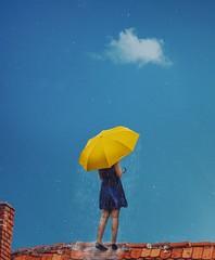 492 Gloomy (Katrina Yu) Tags: gloomy weather roof sky clouds selfportrait 2017 365project umbrella art concept happiness mind manipulation