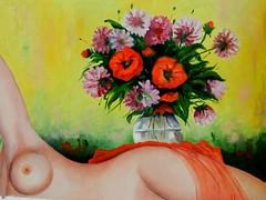 Nudo con bouquet di fiori (Renoil L.) Tags: nudo fiori bouquet dipinto olio naked arte papaveri