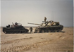 M60A1 Desert Storm, (1811/1812 USMC) Tags: kuwait tank iraq usmc t55 m60a1 marine marines damaged destroyed tanks blade bulldozer 3rdtankbattalion charlie gun captured gunny gunner cvc horizon desert sand vehicle perspective