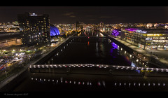 Clydeside at night (Steven Mcgrath (Glesgastef)) Tags: glasgow scotland uk british city urban river clyde dji phantom 4 drone aerial hotel bbc scottish arc bridge squinty bells crown plaza