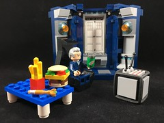 2017-327 - Doctor Who Day (Steve Schar) Tags: 2017 wisconsin sunprairie iphone iphone6s project365 lego minifigure doctorwho twelfthdoctor tv brkdew table tardis fries burger cheeseburger doctorwhoday sonicscrewdriver chair
