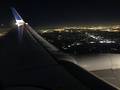 1:21 Coming Home (Woodlands Photog) Tags: flight nighttime ual united airline plan wingtip houston
