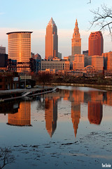 Cleveland Skyline Reflected (Thom Sheridan) Tags: thomsheridan cuyahogariver cleveland industrial flats skyline 2017 terminal key tower