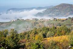 Mist over the mountains of Oltrepò pavese near Varzi - province of Pavia - Lombardy - Italy (PascalBo) Tags: nikon d500 europe italia italie italy lombardy lombardia lombardie pavia pavie varzi outdoor outdoors oltrepòpavese fall autumn automne forest forêt hill colline pascalboegli mountain montagne