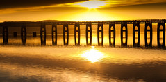Gold (scrimmy) Tags: scotland dundee rivertay railway bridge sunset water