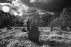 Ladywell and Brockley cemetery (blackwoodse6) Tags: cemetery grave graveyard clouds sky flare ir infrared 850nm monochrome ladywell brockley se4 se13 lewisham sunflare nikon nikond70 foilage trees london southlondon southeastlondon deepinfrared headstone ladywellandbrockleycemetery blackandwhite