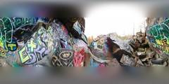 BE KIND, EXIST (brooksbos) Tags: brooks brooksbos art artwork public graffiti quincy quarries quarry rock rocks newengland massachusetts hidden lg g6 smartphone android 360 pano panorama equirectangular