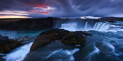 Waterfall of the gods (sven483) Tags: waterfall godafoss iceland north gods panorama sunrise water river landscape