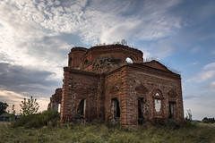 Abandoned Church. (Oleg.A) Tags: ancient autumn arch building destroyed church old outdoor rural evening villiage russia penzaregion field abandoned interior nature landscape tower orthodox inside architecture ruined wall cathedral grass saintmichaelthearchangelchurch catedral arc landscapes outdoors