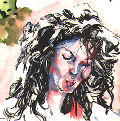 hey lady! (Zntt) Tags: art drawng watercolor routine study ink color frenchmodel frn france brush hair sketch instagood