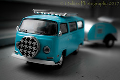 Time Travel (13skies) Tags: vwmicrobus daysoflongago backintime toys playing sonyalpha100 macroscopic bus van fun vacation holidays family travel imagination camping kids familytime sony blue relax together