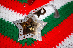 Hospice Ornament. (dccradio) Tags: lumberton nc northcarolina robesoncounty indoors inside christmasdecorations christmas christmastime nikon d40 dslr star ornament crocheted christmastreeornament hospice hospiceofthenorthcountry red green white