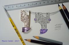 Reticulated silver pendant (Mauro Cateb) Tags: design drawimg jewelrydesign jewelrydrawing silver silverwork silverjewelry amethyst pendant