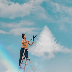 509 (Katrina Yu) Tags: dream clouds christmastree 2017 365project manipulation imagination conceptual creative art fantasy ladder sky gardening