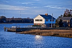 Little House by the River (brev99) Tags: d610 tamron28300xrdiif barrington rhodeisland dock landscape dxofilmpack5 nikoutputsharpener house sunsetlight water cloudy