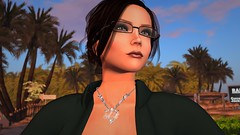 The little details one rarely notices (alexandriabrangwin) Tags: alexandriabrangwin secondlife 3d cgi computer graphics virtual world photography icon symbol selfie misha kerang jewelry necklace initials glasses woman looking away off camera palm tree resort lipstick