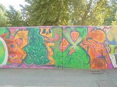 062 (en-ri) Tags: baise hds crew arrow blu arancione verde teschio skull parco dora torino wall muro graffiti writing