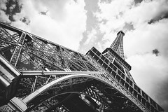 Paris (Tim RT) Tags: tim rt france pris eifel tower steal construct building awesome beautiful art bw black ans white look up sky clouds love travel new picture 2016 nikon d810 nikon20mm 20mm f18 prime lens visual inspired