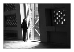Pause for thought (Dave Fieldhouse Photography) Tags: blackandwhite monochrome mono london streetphotography street fuji fujifilm fujixpro2 indoors person portrait window natural light autumn urban interior architecture