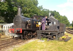 Just three short months ago, but so much warmer, T W Wordsells Y7 0-4-0 Tank Locomotive, No.985 being coaled up between trains. Mid Suffolk Railway. 27 08 2017 (pnb511) Tags: steam loco locomotive engine coaling stage trees men shovels sky track railway