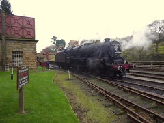 Watering (feroequineologist) Tags: 44806 black5 goathland northyorkshiremoorsrailway nymr lms railway train steam
