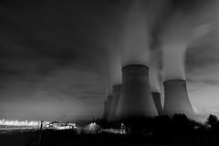 Dark Power (paulhands) Tags: 2016 chimneys eastmidlandspowerstation longexposure m1 night nightlandscape nottingham smoke