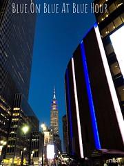 Blue On Blue At Blue (Rush) Hour - IMRAN™ (ImranAnwar) Tags: skyscraper skyline iphonex bluehour travelogue architecture landmarks usa empirestate manhattan newyorkcity newyork imran imrananwar iphone