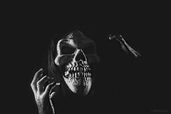 Ghoulish (Allan Jones Photographer) Tags: ghoul ghoulish scary mask horror skull bw mono monochrome blackandwhite creativelighting grid allan jones phot allanjonesphotographer canon5d4 canonef24105mmf4lisiiusm lightsandshadows shadow artistic