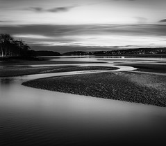 Channel Curves (Mick Blakey) Tags: shoreline slowexposure tranquility tidal reflectitons seashore contours cumbria red shadows contrast monochrome solitary coastal black estuary tranquil sunset serene cold silky highlights dark tide serenity blackwhite sand dreamy curves arnside clouds seascape reflection coast silhouette dusk