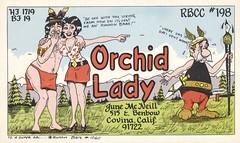 Runnin Bare #1060: Orchid Lady - Covina, California (73sand88s by Cardboard America) Tags: cb qsl cbradio qslcard runninbare theviking california