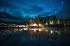 'Ghosts' - Emerald Lake, Yoho, BC (Gavin Hardcastle - Fototripper) Tags: emerald lake lodge yoho national park mist clouds astrophotography nightscape reflections stars night dark water gavinhardcastle fototripper