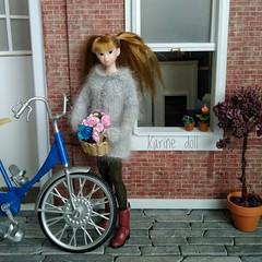 Nueva cesta para la bicicleta! (Karine'S HCF (Handmade Clothing & Furniture)) Tags: momoko handmade sweater punto hecho amano gris lana diorama angora bicicleta árbol