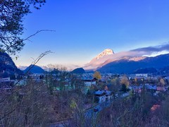 Autumn morning view over Kufstein with Pendling mountain in Tyrol, Austria (UweBKK (α 77 on )) Tags: autumn fall morning sunrise alps pendling mountain kufstein tyrol tirol austria österreich europe europa blue sky iphone
