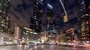 Columbus Circle (deepaqua) Tags: night lenstagger skyscraper timewarnercenter nyc stoplight auto cloud skyline columbuscircle street