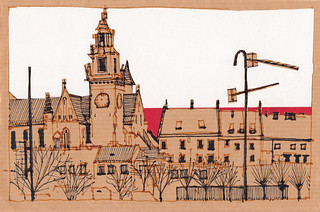 Krakow - morning view of Wawel Hill - with papercutting