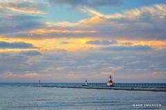 St. Joseph Sunset (mswan777) Tags: scenic 1855mm nikkor d5100 nikon lakemichigan michigan stjoseph autumn wave water horizon pier lighthouse seascape nature outdoor color sky cloud evening sunset