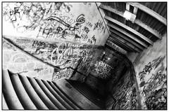 Dark tunnel (unukorno) Tags: freiberg saxony tunnel pissetunnel graffiti stairs staircase treppe fisheye fischauge monochrome sw bw blackwhite danger dirty schmutz dreck