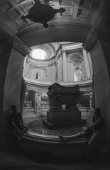 Paris: Tomb of Napoleon (McFarlaneImaging) Tags: 17mm 2015 35mm 400 analog bw blackandwhite bonaparte canon coffin dilutionb europe eurotrip fd ftb film fisheyetakumar fisheye france fromage hc110 homedeveloping iso400 kodak lesinvalides mci napoleon paris pentax slr sarcophagus tomb travel trix vacation wide mcfarlaneimagingcom îledefrance fr