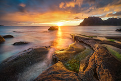 Midnight sun in Lofoten (Richard Larssen) Tags: richard richardlarssen larssen landscape sony scandinavia sea seascape sel1635z sun scenery sky uttakleiv lofoten norway norge norwegen nature night nordland a7ii teamsony sonyalpha rocks leknes utakleiv midnattsol long exposure filter 10 stop formatt