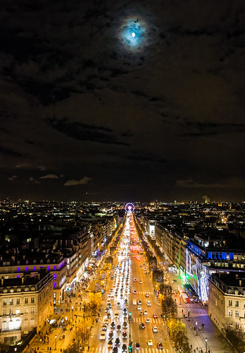 Moon over Champs Elyseees