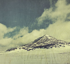 the cold of pyramid peak (jssteak) Tags: canon t1i winter snow mountain clouds paper textured vintage colorado