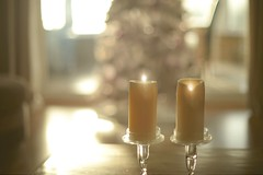 A Romantic Christmas.. (KissThePixel) Tags: christmas christmastree tree bokeh soft softbokeh gentle december candle candles flame pastel light home happy love nikon nikondf ailens 50mm nikkor12 nikkor f12 romance morning mornings family 4thdecember stilllife stilllifephotography