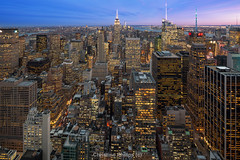 The Empire State Building as seen from the Rockefeller Centre - By Christine Phillips (Christine's Phillips (Christine's observations) - ) Tags: green nyc newyorkcity rockefeller topoftherock sunset bluehour epic canontiltshift 17mm christinephillips winter horizontal nopeople longexposure bigcity cityscape christine phillips