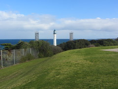 The White Lighthouse at Queenscliff that they navegate by lining it up with the black one. (d.kevan) Tags: australia victoria quennscliff fortressesandcastles lighthouses views sea grass trees towers