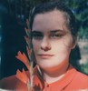(mari-ann curtis) Tags: sx70 polaroid film colour suimmer sister portrait red blue flowers gladioli emily dress sunshine shadows light curl impossibleproject polaroidoriginals 2016