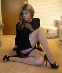 Another dress given to me and another pic of me showing my panties (Miss Nina Jay) Tags: panties heels trannie tights
