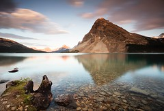Bow Lake (Kevin.Grace) Tags: bow lake canada canadianrockies reflection mountain sunset rocks cloufs