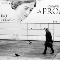 the gray-haired lady (pascalcolin1) Tags: paris13 femme woman affiche cinema cheveuxgris grayhaired photoderue streetview urbanarte noiretblanc blackandwhite photopascalcolin canon50mm 50mm canon