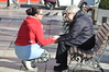 Don't leave me alone (LorenzoManso) Tags: true love look friendship help alone old woman street bench affection care mother son caress union team spain madrid city people person